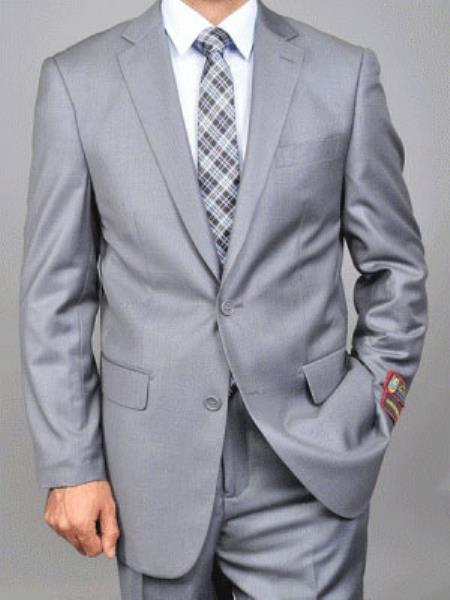Mens Giorgio Fiorelli Single Breasted Double Vent 2 Button Suit Solid Grey