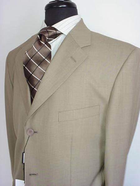 SKU#VIN_3PP Mens Tan ~ Beige~Stone~Beige Mens Single Breasted Discount Dress 3 Button Cheap Suit