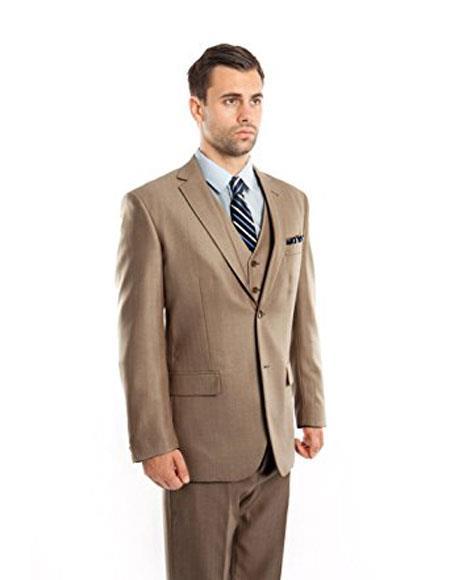 Mens Tan 3 Piece Modern Fit Vested Suits Flat Front Pants