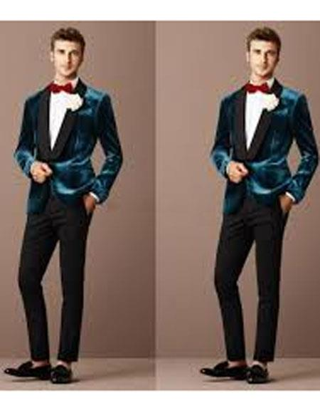 Alberto Narodni Dark Teal Blue Velvet Fabric Dinner Jacket (Greenish Blue) Fashion Tuxedo For Men