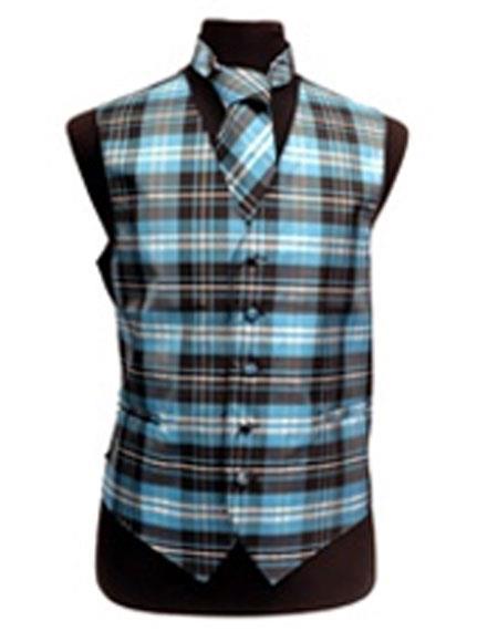 Men's White/Turquoise  Slim Fit Polyester Plaid Design Fashion Set