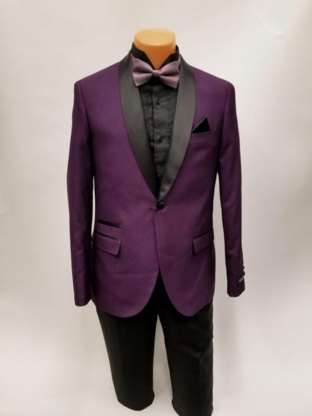SKU#JS382 Mens One Button Shawl Lapel Purple Prom Wedding Tuxedo