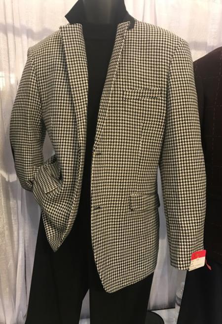 Mens White/Black houndstooth checkered Blazer ~ Sportcoat ~ Jacket