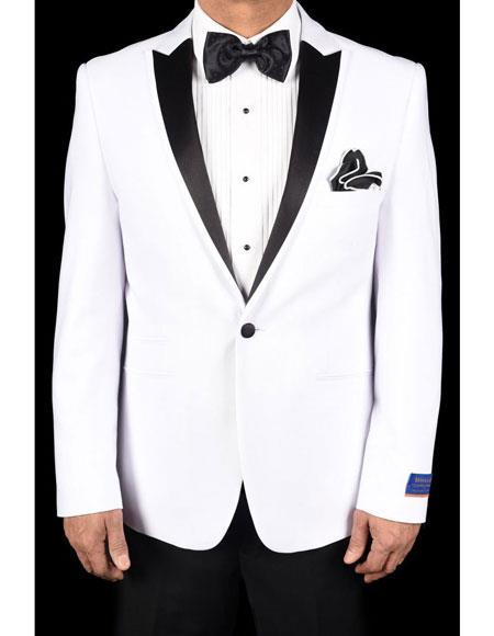 Mens White Super 150s Viscose Blend 1 Button Tuxedo Solid Pattern Slim Fit Dinner Jacket