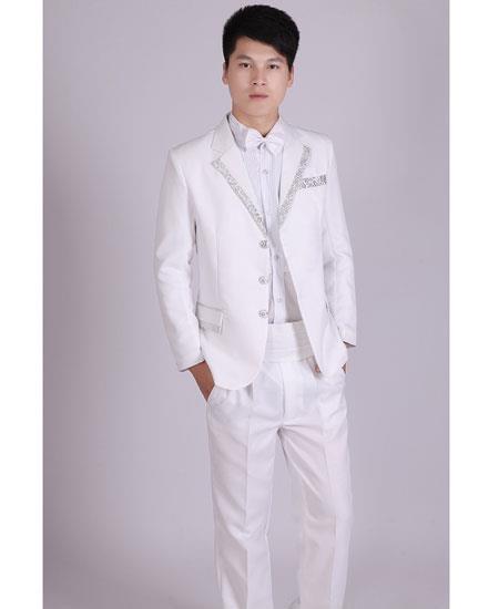 "White "" Silver Tuxedo Lapel Vested Tux"