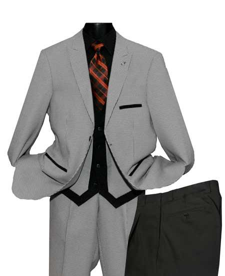 Black/White Men's Single Breasted 2 Button Peak Lapel Vested Suit