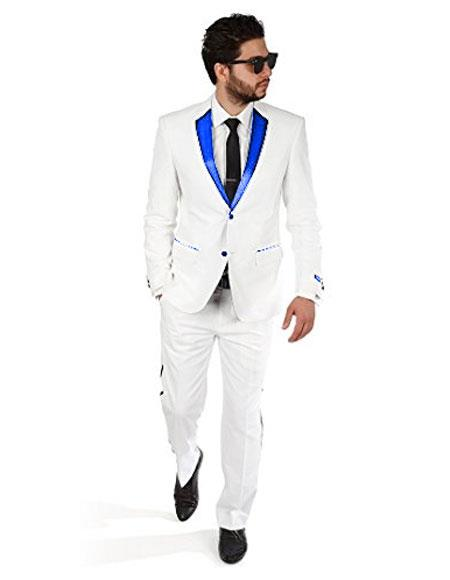 2BW2 Mens 2 Button White Tuxedo with Royal Blue Satin Lapel and White Flat Front Pants