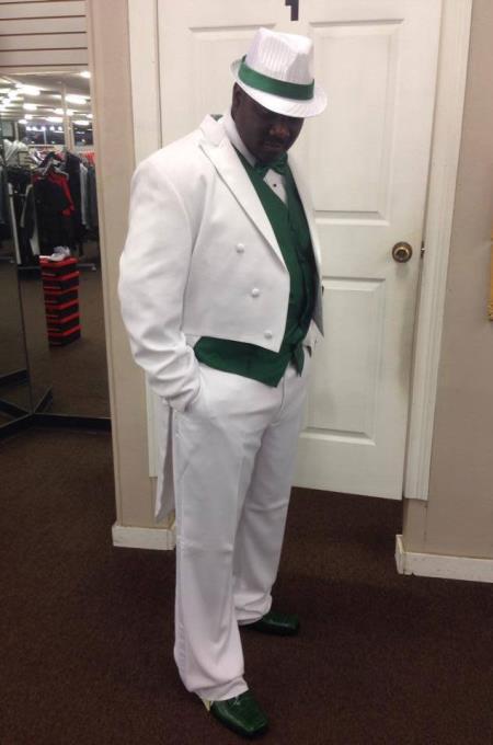 Men's White Peak Lapel Include Vest Classic Fit Tailcoat Tuxedo