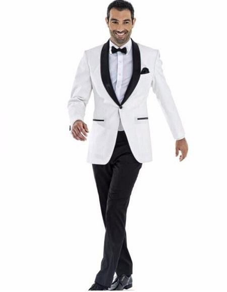 mens one button white tuxedo suit with black shawl lapel (Jacket + Pant + Bow)