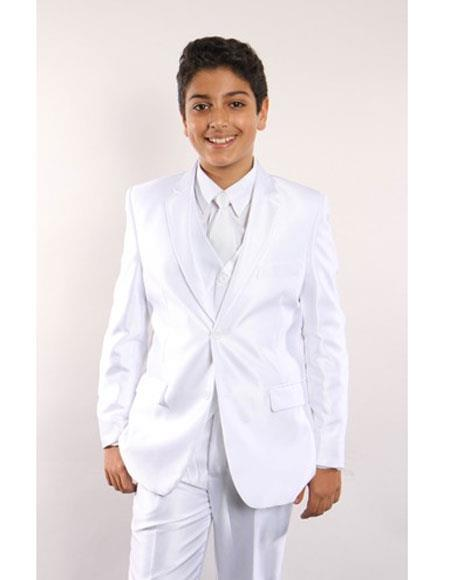 Boys 5 Piece Single Breasted White Kids Sizes Suit Perfect For boys wedding outfits Vested w/ White Shirt, Tie & Hanky Stylish