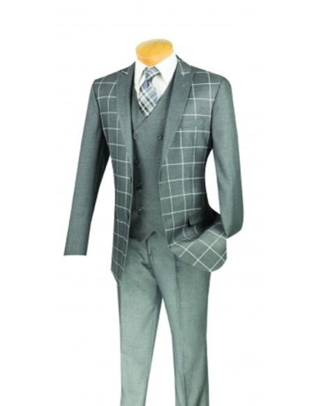 Mens Plaid ~ Windowpane Gray Slim Fit Blazer ~ Sport Jacket
