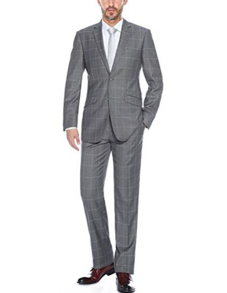 Mens windowpane plaid slim fit two piece Grey suit