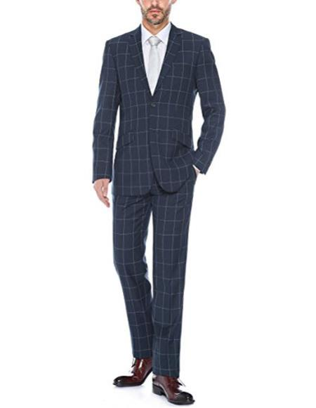 Mens windowpane plaid Dark navy slim fit two piece suit