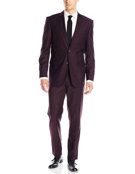 Mens 2 Button Solid Wine ~ Plum ~ Eggplant Classic & Slim Fit Suits