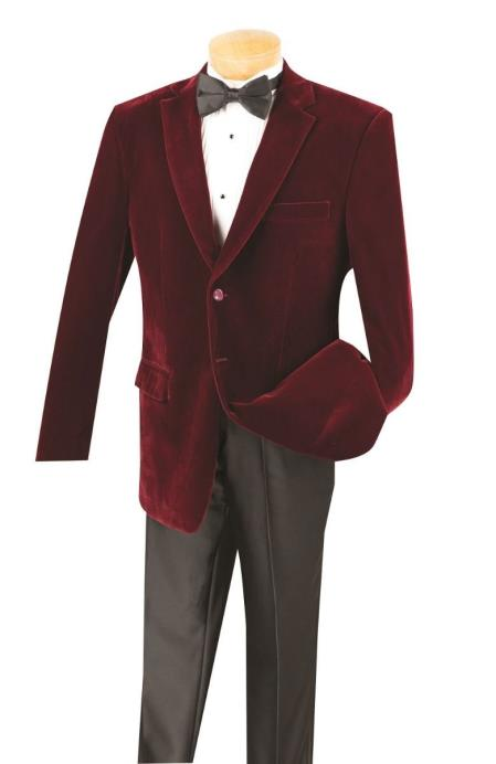 Cheap Priced Big And Tall Blazers Wine Clearance Velvet ~ Velour Blazer / Sport Coat