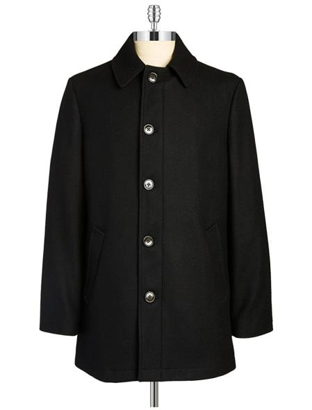 Buy SM4768 RALPH LAUREN Men's Classic Fit Mid Length Single-Breasted Wool Blend Overcoat