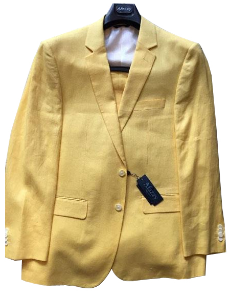 Mens Single Breasted Two Buttons 100% Linen Modern Fit lined Yellow suit