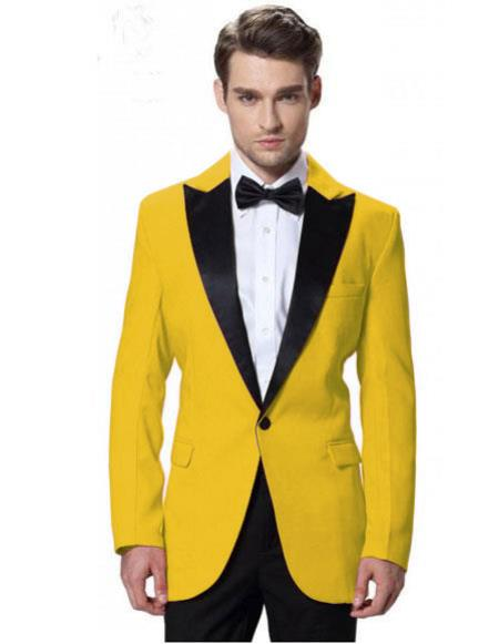 Mens Black Lapel Tuxedos yellow Jacket with Black Pant One Button Elegant Slim Fit Wedding Suit