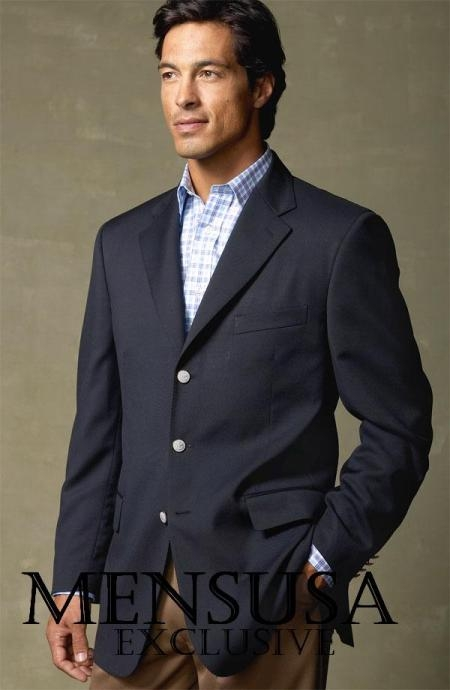 SKU# NXG606 Single Breated, Navy Blue 3 Button Blazer $99