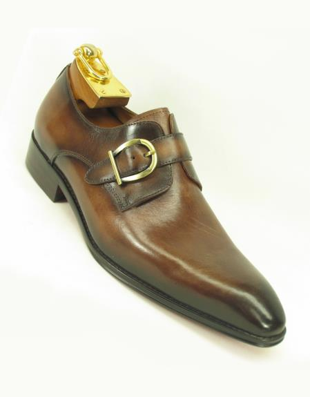 Mens Fashionable Carrucci Slip On Side Single Buckle Style Chestnut Shoes