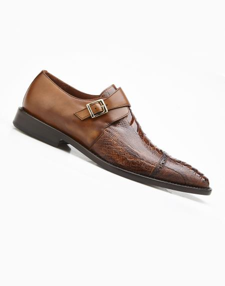 Mens Antique Almond Single Buckle Style Genuine Ostrich And Italian Calf Shoes