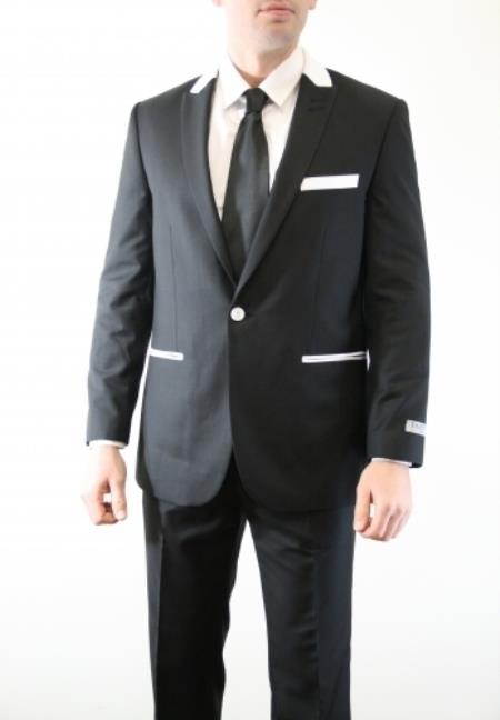 Single Button Vested Peak Lapel Vested Three Piece With Sheen ( sharskin) Slim Skinny Fitted Black With White Trim