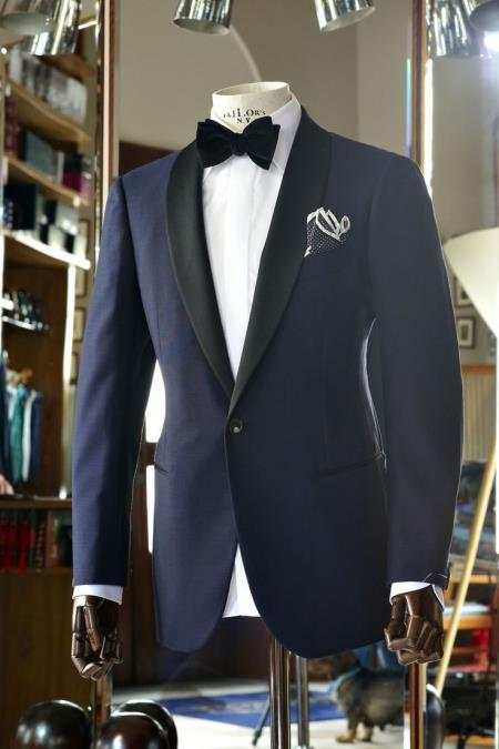 Mens Vested Black Lapel Two toned blue Tuxedo Shawl Collar Single Button