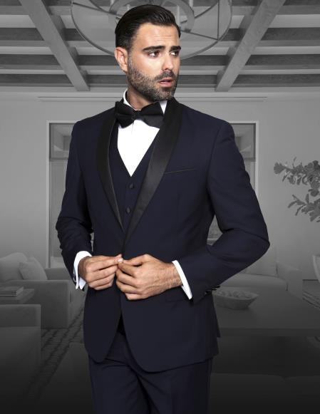 Men's Shawl Collar Single Button  Vested Black Lapel Two toned blue Tuxedo