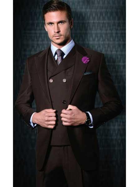 3 Piece Suit Vested 1 Button Suit Wide Leg Pants Big Peak Lapel 100% Wool Full Cut Double Breasted Vest Burgundy ~ Wine ~ Maroon Color