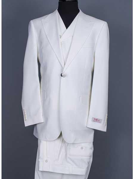 3 Piece Suit Vested Wide Leg Pants Big Peak Lapel 1 Button Suit Off White 100% Wool Full Cut Double Breasted Vest
