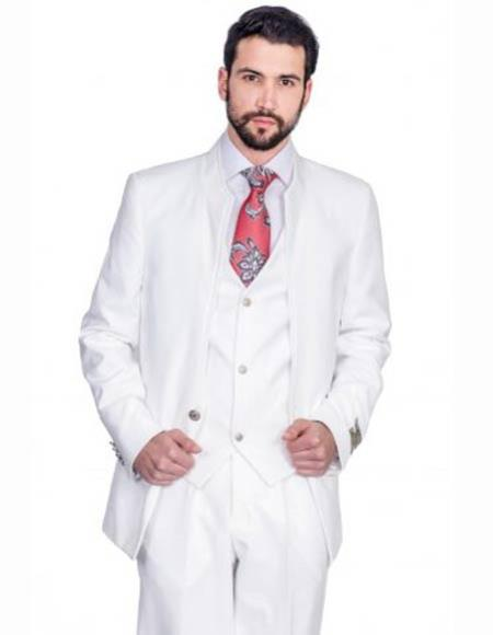 Buy SM2889 Mens Single Button Style White 100% Wool 3 Piece Mandarin Banded Collar Vested Suit