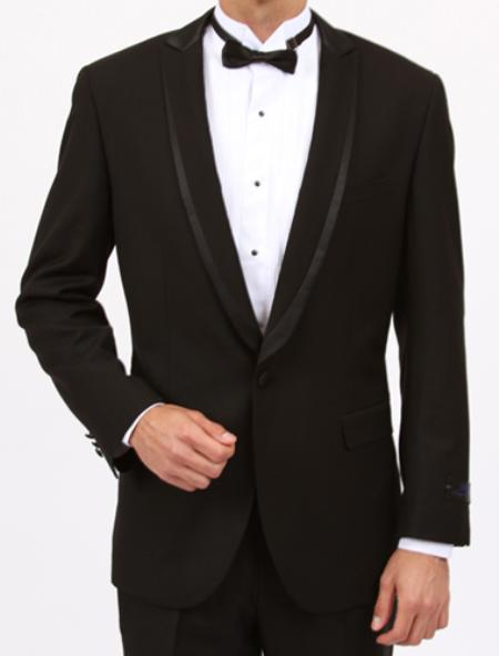 SKU#YY7923 Tapered Leg Lower Rise Pants & Get Skinny Slim Fit 1 Button Tuxedo Shawl collar Black wit