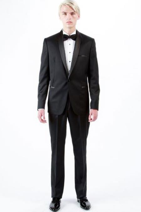 Mens 1 Button Shawl Lapel Wool Tuxedo Black Slim Fit Single Breasted Suit