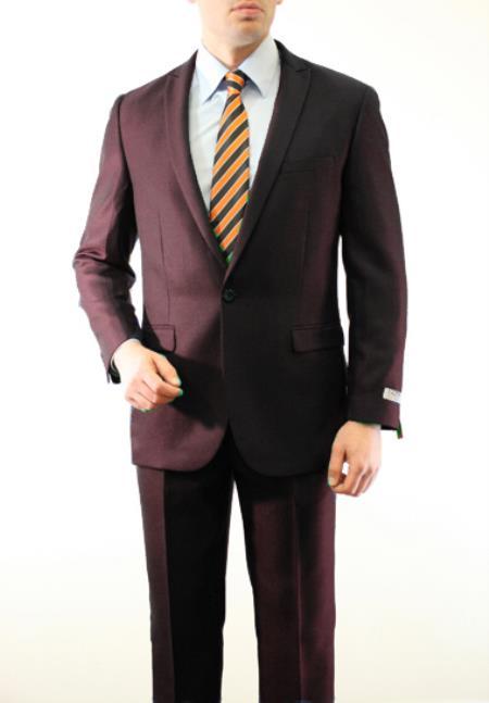 SKU#TWK893 Mens 1 Button Front Closure Slim Fit Peak Lapel tone on tone Herringbone Tweed Shadow Patterned Suit Brown