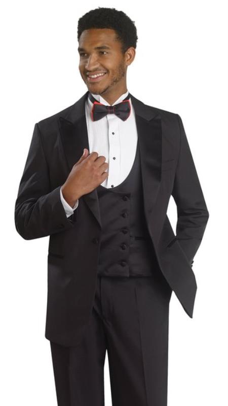 Mens 1 Button Tuxedo Double Breasted Black Formal Suit