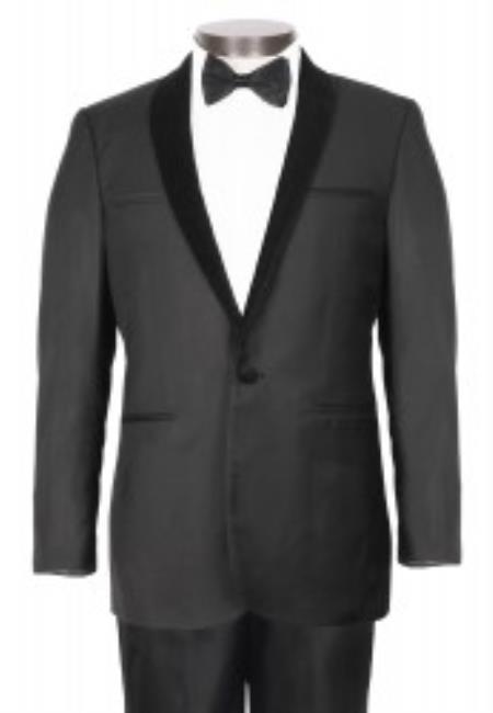 1 Button Black Tuxedo With Stylish Velvet Shawl Lapel - Slim Fit