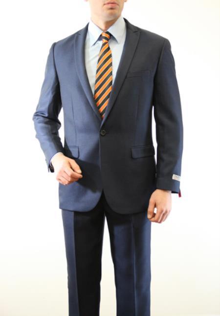SKU#JRN582 Mens 1 Button Front Closure Slim Fit Peak Lapel tone on tone Herringbone Tweed Shadow Patterned Suit Navy