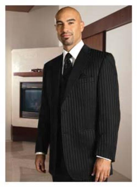 1 Button Peak Lapel Black On Black Shadow Tone On Tone Pinstripe Tuxedo Formal slim Fitted Suit