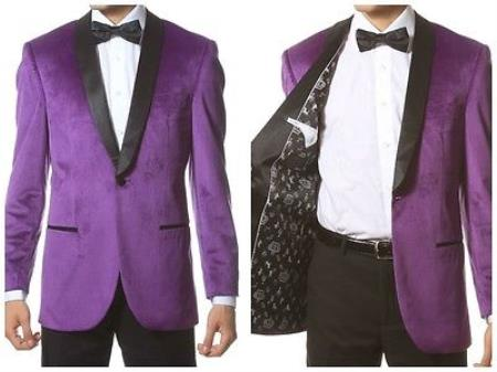 Mens 1 Button Velvet ~ Velour Tuxedo With Black Trim Shawl Collar Dinner Jacket Blazer Sport Coat Purple