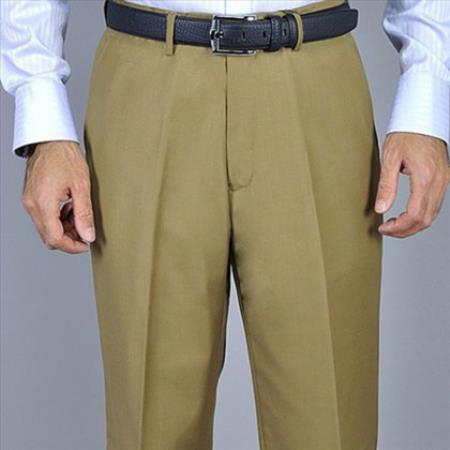 Men's Camel Single Pleat Pants unhemmed unfinished bottom
