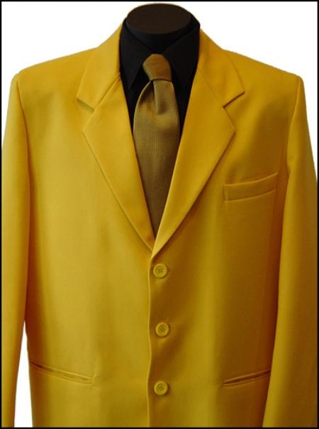 SKU# AWD944 Single Breasted Mustard Goldish Yellow Suit $89