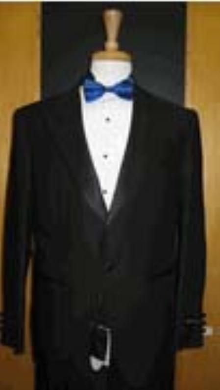 SKU#GB711 Single Button Peak lapel Black Tuxedo $149
