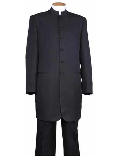 Men's Two Piece Mandarin Collar Black 6 Button Wool Feel Long Jacket - Men's Preaching Jacket