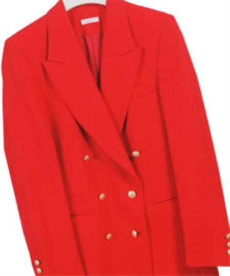 SKU# LAN532 Z762TA Red , Six Button Double Breasted Performance Blazer Jacket Coat