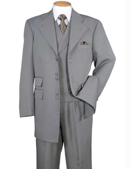 Mens Gray 6 Button Wide Notch Lapel Double Breasted Zoot Suit - Pimp Suit - Zuit Suit Vest 100% Polyester