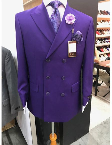 Mens Purple Double Suit & Blazer & Pants