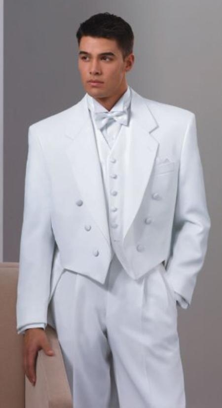 Notch Collar 6 Buttons Pleated Pants Six button Full Dress Formal Tuxedo Tailcoat in Solid Snow All White Suit For MenSatin facing