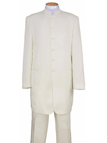 Mens 6 Button Wool Two Piece Mandarin Banded Collar Cream Long Jacket