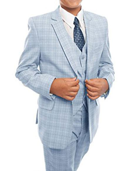 Boys Sky Baby Blue 3-Piece checkered check pattern Tuxedo Suit Set With Matching Shirt & Tie