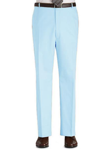 Stage Party Pants Trousers Flat Front Regular Rise Slacks Light Blue ~ Sky Blue